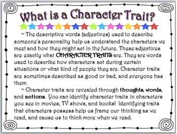 CHARACTER TRAITS: TASK CARDS & MORE!