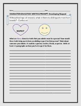 CHARACTER WRITING PROMPT:  DEVELOPING RESPECT