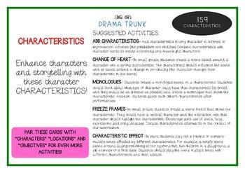 CHARACTERISTICS Drama / English Cards + Suggested Drama Activities