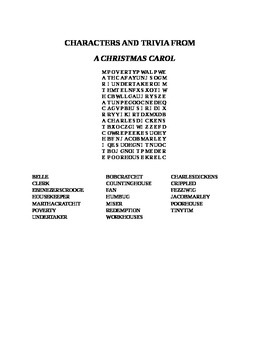 CHARACTERS AND TRIVIA FROM A CHRISTMAS CAROL WORD SEARCH
