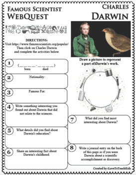 CHARLES DARWIN - WebQuest in Science - Famous Scientist - Differentiated