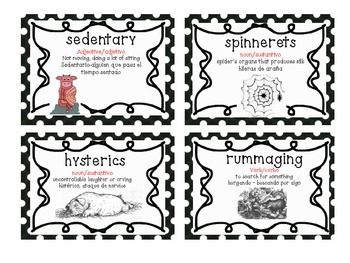 Charlotte's Web Vocabulary Cards (BILINGUAL)