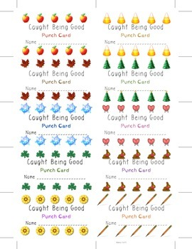 CHEAP and CuTE Punch Cards Good Behavior management incentives Holidays