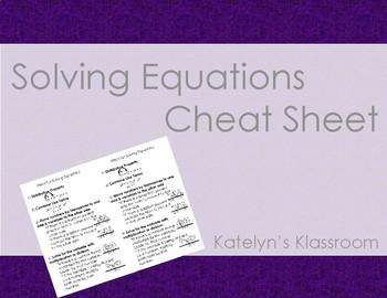 CHEAT SHEET - Solving Equations