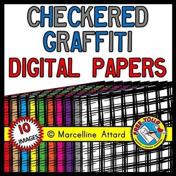 CHECKERED GRAFFITI DIGITAL PAPER BACKGROUNDS RAINBOW CLIPART