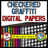 CHECKERED GRAFFITI DIGITAL PAPERS: BACKGROUNDS CLIPART