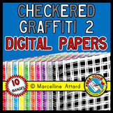 CHECKERED GRAFFITI DIGITAL PAPER BACKGROUNDS TEXTURED RAINBOW CLIPART