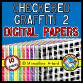 CHECKERED GRAFFITI DIGITAL PAPERS: CHECKERED GRAFFITI CLIP