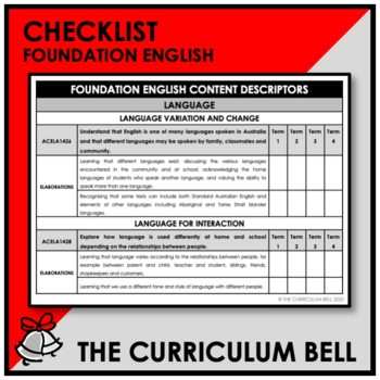 CHECKLIST | AUSTRALIAN CURRICULUM | FOUNDATION ENGLISH