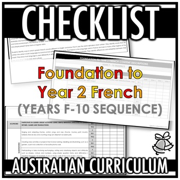 CHECKLIST | AUSTRALIAN CURRICULUM | FOUNDATION TO YEAR 2 FRENCH (F - Y10)