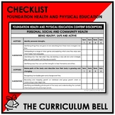 CHECKLIST | AUSTRALIAN CURRICULUM | HEALTH AND PHYSICAL ED