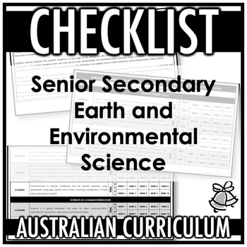CHECKLIST | AUSTRALIAN CURRICULUM | SENIOR SEC EARTH AND ENVIRONMENTAL SCIENCE