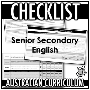 CHECKLIST | AUSTRALIAN CURRICULUM | SENIOR SECONDARY ENGLISH