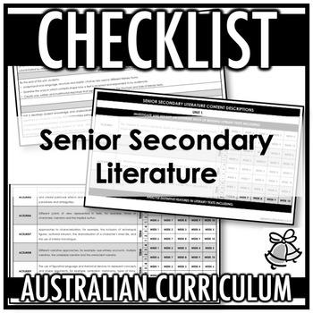 CHECKLIST | AUSTRALIAN CURRICULUM | SENIOR SECONDARY LITERATURE