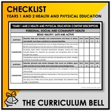 CHECKLIST | AUSTRALIAN CURRICULUM | YEARS 1 AND 2 HEALTH