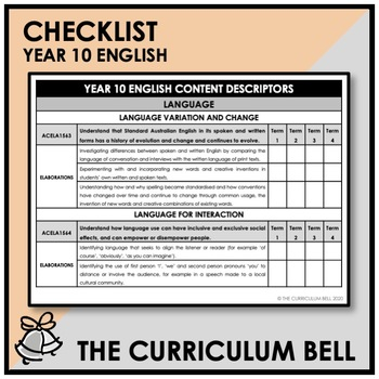 CHECKLIST | AUSTRALIAN CURRICULUM | YEAR 10 ENGLISH