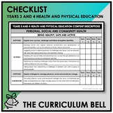 CHECKLIST | AUSTRALIAN CURRICULUM | YEARS 3 AND 4 HEALTH