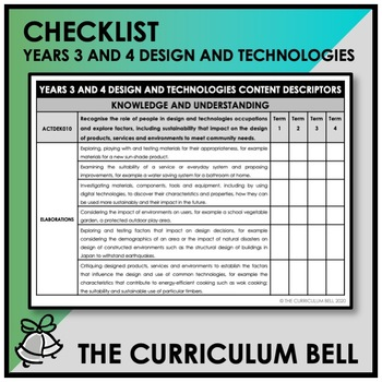 CHECKLIST | AUSTRALIAN CURRICULUM | YEARS 3 AND 4 DESIGN AND TECHNOLOGIES