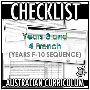 CHECKLIST | AUSTRALIAN CURRICULUM | YEARS 3 AND 4 FRENCH (F - Y10)