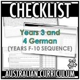 CHECKLIST | AUSTRALIAN CURRICULUM | YEARS 3 AND 4 GERMAN (F - Y10)