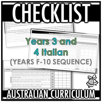 CHECKLIST | AUSTRALIAN CURRICULUM | YEARS 3 AND 4 ITALIAN (F - Y10)