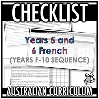 CHECKLIST   AUSTRALIAN CURRICULUM   YEARS 5 AND 6 FRENCH (F - Y10)