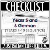 CHECKLIST | AUSTRALIAN CURRICULUM | YEARS 5 AND 6 GERMAN (