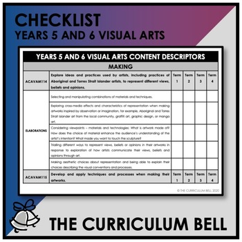 CHECKLIST   AUSTRALIAN CURRICULUM   YEARS 5 AND 6 VISUAL ARTS