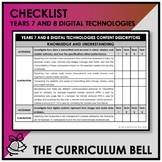 CHECKLIST | AUSTRALIAN CURRICULUM | YEARS 7 AND 8 DIGITAL