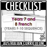 CHECKLIST | AUSTRALIAN CURRICULUM | YEARS 7 AND 8 FRENCH (
