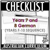 CHECKLIST | AUSTRALIAN CURRICULUM | YEARS 7 AND 8 GERMAN (F - Y10)