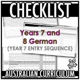 CHECKLIST | AUSTRALIAN CURRICULUM | YEARS 7 AND 8 GERMAN (Y7 ENTRY)