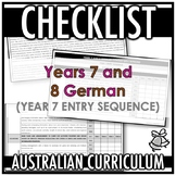 CHECKLIST | AUSTRALIAN CURRICULUM | YEARS 7 AND 8 GERMAN (