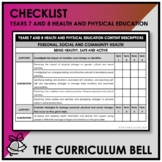 CHECKLIST | AUSTRALIAN CURRICULUM | YEARS 7 AND 8 HEALTH