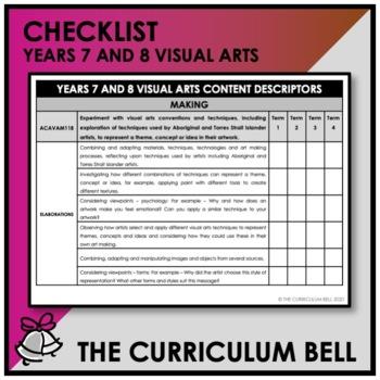 CHECKLIST   AUSTRALIAN CURRICULUM   YEARS 7 AND 8 VISUAL ARTS