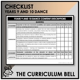 CHECKLIST | AUSTRALIAN CURRICULUM | YEARS 9 AND 10 DANCE