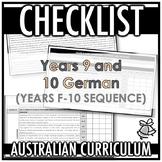 CHECKLIST | AUSTRALIAN CURRICULUM | YEARS 9 AND 10 GERMAN (F - Y10)