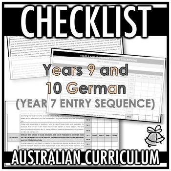 CHECKLIST | AUSTRALIAN CURRICULUM | YEARS 9 AND 10 GERMAN (Y 7 ENTRY)