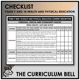CHECKLIST | AUSTRALIAN CURRICULUM | YEARS 9 AND 10 HEALTH