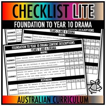 CHECKLIST LITE | AUSTRALIAN CURRICULUM | FOUNDATION TO YEAR 10 DRAMA