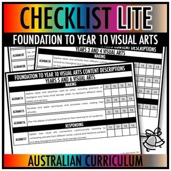 CHECKLIST LITE | AUSTRALIAN CURRICULUM | FOUNDATION TO YEAR 10 VISUAL ARTS