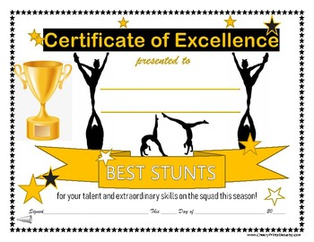 14 CHEER COACH Cheerleading Awards Certificate! For All Cheerleading Ages Levels
