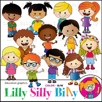 CHEERFUL KIDS Clipart. BLACK AND WHITE & Color Bundle. {Lilly Silly Billy}