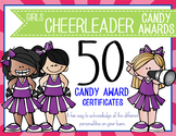 CHEERLEADER - girls - Candy Award Certificates - editable MS Power Point