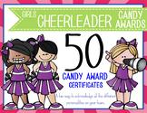 CHEERLEADER - girls - Candy Award Certificates - editable