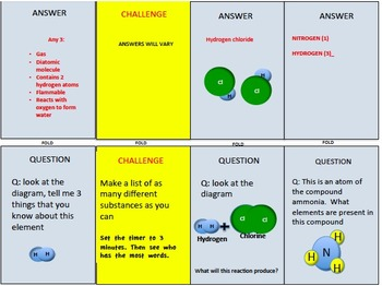 CHEMICAL REACTIONS (NGSS MS-PS1.B), QUIZ CARDS, cooperative learning games