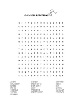 CHEMICAL REACTIONS- WORD SEARCH