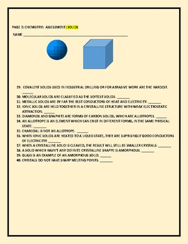 CHEMISTRY: ASSESSMENT: SOLIDS T/F, ESSAY FOR AP CHEMISTRY, MG, GRADES 9-12