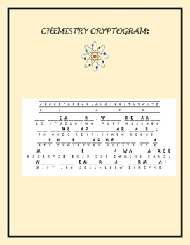 CHEMISTRY CRYPTOGRAM: GRADES 9-12, H.S. SCIENCE, AP CHEMISTRY