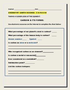 Worksheet of the chemistry carbon Carbon